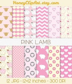 Pink Lamb Digital Paper Baby Girl Backgrounds Baby by HoneyClipArt, $5.00