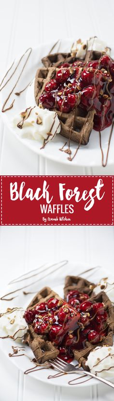 A classic dessert is reimagined in waffle form, combining chocolate waffles with cherries and whipped cream to create Black Forest Waffles. | Crumb Kitchen