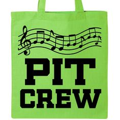 """Pit Crew Logo Tote Bag - Lime Green makes a great outfit or uniform for a pit crew member in marching band. Light Weight 6oz 100% Cotton Tote Bag. 14.5""""W x 15.5""""H, handles are 20"""" in length."""