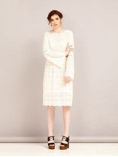 2f12fb81986 Festival-approved antique white lace midi dress with bell sleeves and a  relaxed flirty fit. Comes with a knee length slip. Fabric Composition  80%  Cotton