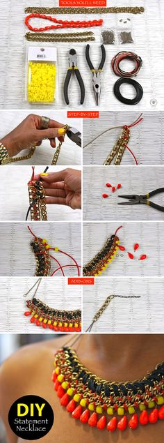 diy statement necklace tutorial beaded chain statement necklace