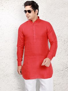 Shop Red linen short pathani online from G3fashion India. Brand - G3, Product code - G3-MSP1029, Price - 1895, Color - Red, Fabric - Linen,