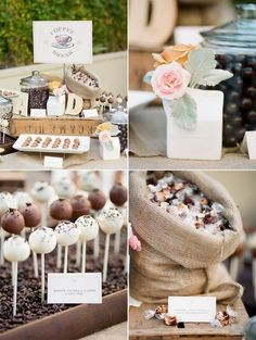 cake pop station with coffee bean set up