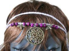Festival Headband, Hippy Hairband, Heart Necklace, Crochet Halo, Lilac Crown, Woodstock by thekittensmittensuk on Etsy