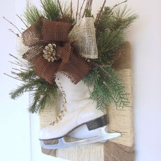 Ice Skate Rustic Framed Wreath with Burlap Bow and by DesignWise4U, $52.00