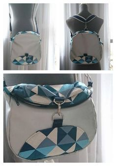 Limbo Bag pattern : convertible backpack that transforms into a crossbody or saddle bag. One bag for three urban feminine styles. Bag Pattern Free, Bag Patterns To Sew, Backpack Straps, Backpack Purse, Inside Bag, One Bag, Fabric Bags, Bag Making, Fashion Bags