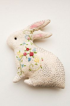 Crochet Soft Toys Bunny in bloom embroidered critter - Beautiful gift for Mother or Beloved, sweet embroidered bunny rabbit soft toy - Fabric Toys, Fabric Art, Fabric Crafts, Sewing Toys, Sewing Crafts, Sewing Projects, Ribbon Embroidery, Embroidery Art, Softies