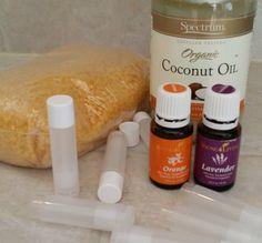 supplies for lavender orange lip balm