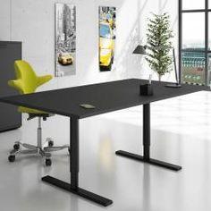Q10 el-bord med runde søjler, fås med mange varianter af bordplade og understel.