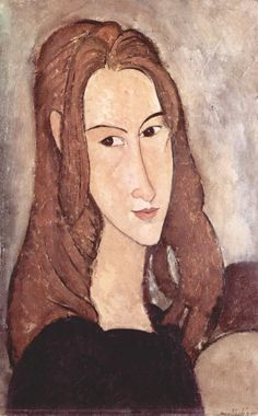 """Modigliani's """"Portrait of Jeanne Hébuterne"""", 1918.  I don't think the portrait looked like his girlfriend in real life, but that was how she looked in his heart."""