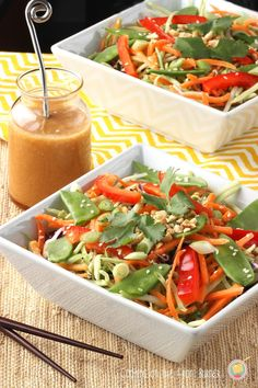 This Asian Slaw with Ginger Soy Dressing is healthy, easy and delicious! #recipes #dinner