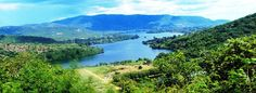 Panorama and landscape view of Lake Volta in Volta Basin and Eastern Region of Ghana.