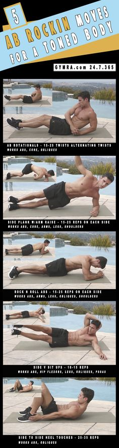 Abs Workout. Do each move for a minute with 15-45 seconds rest in between sets twice. Total Body Workout. Warm up for 2 minutes, do the circuit 2-3 times. Transform yourself  Your life, get fit  healthy.