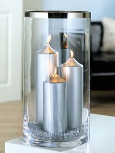 Fink Living 173081 Glas Vase Platinum