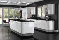 Image result for white gloss kitchen black worktop
