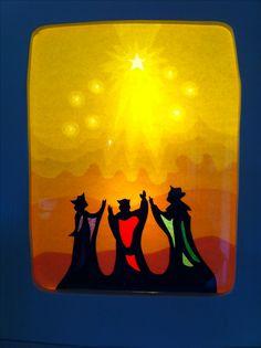 Transparent: heilige drei Könige sehen den Stern