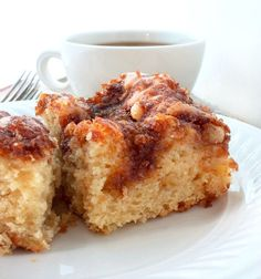 Sour Cream Apple Cake is moist with just the right amount of topping.   Perfect with coffee or tea and as a dessert.