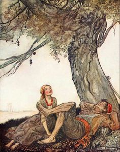 """The Travellers and the Plane-tree"" from ""Aesop's Fables"" (1912) illustrated by Arthur Rackham"