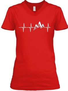 Mountain In My Heartbeat Red T-Shirt Front