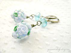 Petit Four  dangle earrings lampwork jewelry blue by yippeevintage