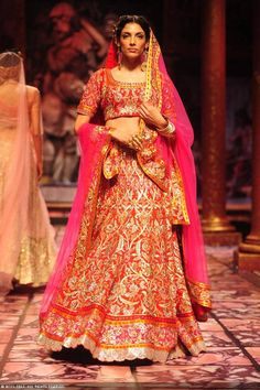 A model walks the ramp for designer Suneet Varma on Day 5 of the India Bridal Fashion Week (IBFW) 2013, held in New Delhi.