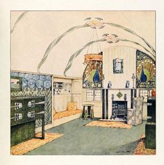 English Arts & Crafts Living Room. Coloured Design Drawing. Circa 1912.