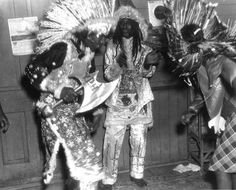 Indians of Yellow Pocahontas with Chief at residence of Chief Paul Joseph in New Orleans Louisiana during Mardi Gras in 1942. OMG... they look Black! Because... they are... as were their ancestors