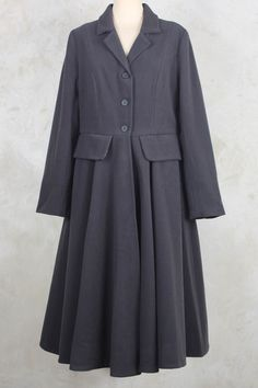 Tailored Coat with Flared Skirt in Grey - Les Filles D'ailleurs