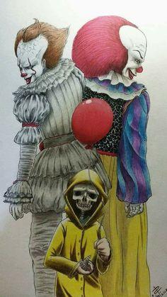 Horror Movies Horror Movie Tattoos, Horror Movie Characters, Horror Films, Creepy Clown, Creepy Art, Scary, Horror Drawing, Creepy Drawings, Pennywise The Dancing Clown