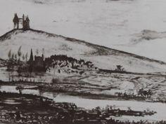 """Ce détail d'un dessin de Victor Hugo représente un château (de l'Arbrelles ?) perché sur une colline qui surplombe un village près duquel sinue une rivière - Lié au poème """"Le château de l'Arbrelles"""" du recueil """"Toute la Lyre"""" (""""[La Fantaisie]"""") de ce même Victor Hugo."""