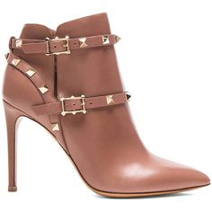 Valentino Rockstud Leather Booties T.100 ($757) ❤ liked on Polyvore featuring shoes, boots, ankle booties, ankle boots, heels, booties, leather bootie, short boots, cutout booties and cut out bootie