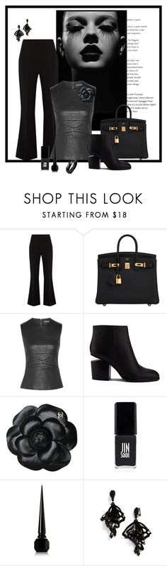 """high class in black"" by art-gives-me-life ❤ liked on Polyvore featuring Roland Mouret, Hermès, Narciso Rodriguez, Alexander Wang, Chanel, JINsoon, Christian Louboutin, Oscar de la Renta, West Coast Jewelry and contestentry"