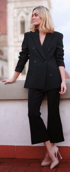 Black Street Chic Suit by Adenorah Business Lady, Business Women, Street Chic, Work Fashion, Suit Jacket, Dressing, Suits, Jackets, Black