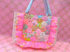 Antique Fabric Pinks Patchwork Quilt Bag Pouch Hexagon アンティークファブリックピンクス ヘキサゴンバッグ