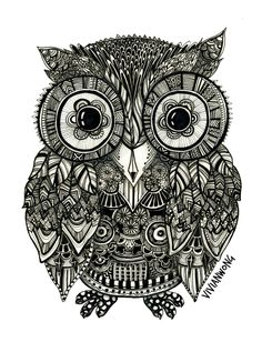Zentangle Owl Fineliner Pen Drawing, Handmade, High Quality Print ...