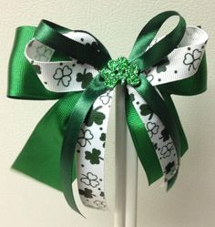 St Patrick's Day Holiday Hair Bow by KatsHolidayHairBows on Etsy, $5.00