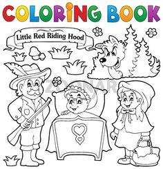 Clipart of a Black and White Little Red Riding Hood Banner and Characters - Royalty Free Vector Illustration by visekart Fairy Tale Theme, Fairy Tales, Bad Wolf, Clip Art Pictures, Royalty Free Clipart, Free Vector Illustration, Free Cartoons, Red Riding Hood, Little Red