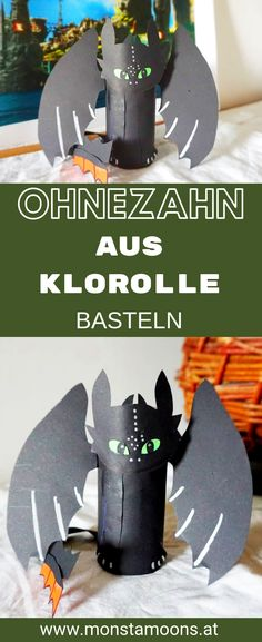 Toothless - How to make the cute dragon . - Kleinkinder: Tipps, Basteln, Spielideen, Rezepte & mehr - Crafts world Diy Crafts To Do, Upcycled Crafts, Diy For Kids, Crafts For Kids, Toothless Dragon, Dragon Party, Dragon Crafts, Cute Dragons, Toilet Paper Roll