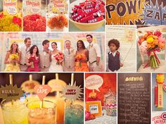 {you're my superhero} comic book wedding in orange, red, and yellow.