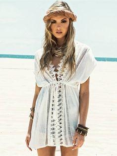Saída de Praia Com Renda Branca - Compre Online | DMS Boutique