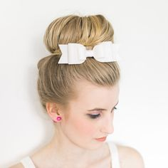 Oversized bright white large felt bow hair clip  with ice
