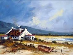 Pieter van Heerden - Cottage by the Sea - 400 x 300 Cottages By The Sea, South African Artists, New Hobbies, 6 Years, Landscape Paintings, Canvas Art, City Scapes, Scene, Van