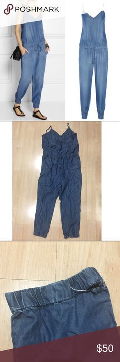 Washed Chambray Jumpsuit - there is a hole near the ankle area can be sewn (as shown in photo) - Adjustable shoulder straps, elasticated back topline and drawstring waist, slant pockets, zipped gathered cuffs - Pulls on - 100% Lyocell Splendid Pants Jumpsuits & Rompers
