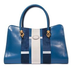 Spring Bags: Get Carried Away - colorblock blue and white tote from Tod's