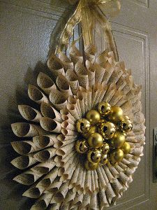 Beautiful Rolled Book Page Wreath