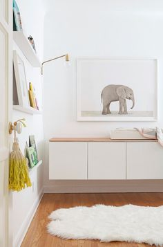 Love the shallow wall shelves to display books