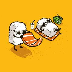 "Tee Shirt Illustration - 2012 - Batch) by Chow Hon Lam, via Behance ------- It's titled ""Summer Sushi"".How adorable! Its kind of the illustration style I want to go into for my project. Japon Illustration, Funny Illustration, Food Illustrations, Graphic Illustration, Illustration Styles, Food Cartoon, Cute Cartoon, Sushi Cartoon, Cartoon Drawings"