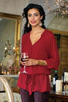 Anastasia Shirt & Cami - Womens French Cuff Shirt, Chiffon Shirt, Sheer Shirt | Soft Surroundings
