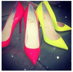 Christian Louboutin Pigalle 120 Neon Pink & Lime Heels Shoes Courts
