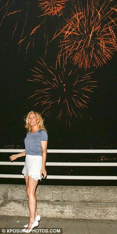 Ellie Goulding watched a fireworks display from London's Waterloo Bridge on May 21, 2014
